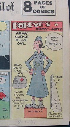 Army Nurse Olive Oyl newspaper doll, 1941 | eBay