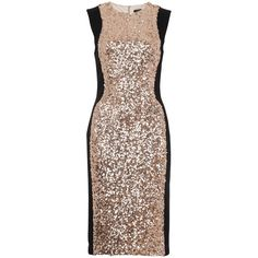 French Connection Lunar Sparkle Sleeveless Dress, Pale Gold (15.450 RUB) ❤ liked on Polyvore featuring dresses, midi dress, brown maxi dress, sequin party dresses, bodycon midi dress and gold maxi dress