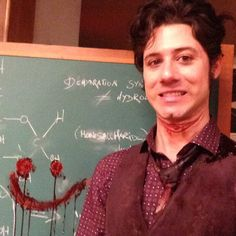 Hale Appelman making bloody smiley faces on the chalkboard on the set of #TheMagicians (via HDalhousie on Twitter)