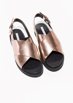 & Other Stories Cross Strap Leather Sandals in Copper, $48