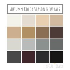 Neutral colors for the Autumn Color Season wardrobe palette. No pure white or pure black (unless you're a dark or deep Autumn). Instead opt for shades of beige, brown, warm grays, and the darkest variations of warm colors in place of black. Winter Colors, Summer Colors, Warm Colors, Autumn Colours, Soft Autumn Deep, Dark Autumn, Deep Autumn Color Palette, Neutral Colour Palette, Neutral Paint