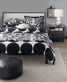 Oversized polka dots. Polka dot bedding. Marimekko Kivet Black Bed Linens.