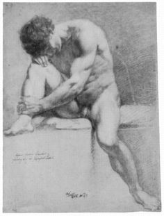 Overbeck, Johann Friedrich: Sitzender männlicher Akt