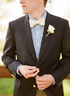 love the bow tie and striped shirt | Photo: Taylor Lord Photography