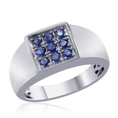 Liquidation Channel | Kanchanaburi Blue Sapphire Men's Ring in Platinum Overlay Sterling Silver (Nickel Free)