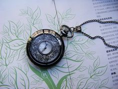Retro pewter pocket watch necklace / jewelry by mymade1 on Etsy, $5.50