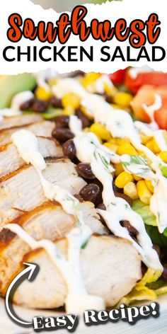 SOUTHWEST GRILLED CHICKEN SALAD is light, healthy and fresh - full of vegetables and topped with warm spicy chicken, avocado and a creamy cilantro dressing. #southwest #chicken #chickensalad #saladrecipe Freezer Meals, Easy Meals, Creamy Cilantro Dressing, Norway Food, Southwest Chicken, Best Salad Recipes, Good Food, Yummy Food, Grilled Chicken Salad