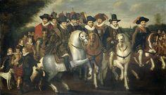 Prins Maurits vergezeld door zijn twee broeders, Frederik V, keurvorst van de Palts en enkele graven van Nassau te paard Rijksmuseum SK-A-445.jpeg
