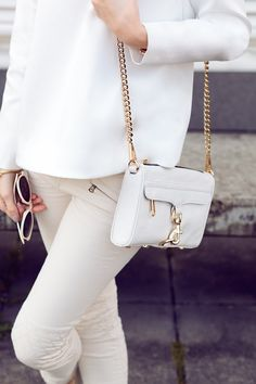 This white Rebecca Minkoff Mini Mac this summer! Obsession with white color & perfect accessory for all outfits.