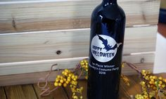Holiday Etched Wine Bottles Personalize them for your Halloween hostess! Kids eat candy you can drink wine! www.WineGreeting.com