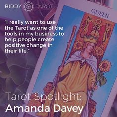 Every month I choose one member of the Biddy Tarot Community to feature. This month's Tarot Spotlight is on Amanda, who is combining her new knowledge of Tarot with her work as an NLP Practicioner, coach, and Hypnotherapist. Doesn't that sound amazing? Le