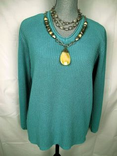 CHICOS 3 Blue Green Teal Sweater Silk Cotton V Neck Pull Over Knit Top