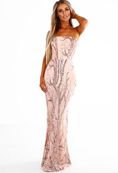 14a7459ae217 PREMIUM Fell From Heaven Nude and Rose Gold Sequin Strapless Maxi Dress | Pink  Boutique