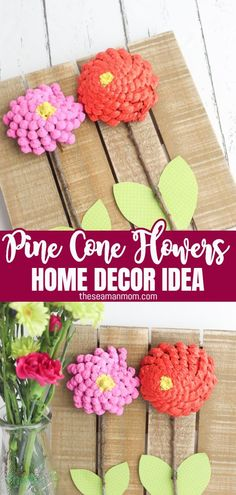Looking for a trendy design idea? Make some pine cone flowers to match your decor!  #easypeasycreativeideas #crafts #homedecor #recycledcrafts #recycling #flowers #flowercrafts #pineconeflowers #paintedpinecones Crafts To Make, Fun Crafts, Crafts For Kids, Arts And Crafts, Pine Cone Decorations, Flower Decorations, Painted Pinecones, Recycled Crafts, Flower Crafts