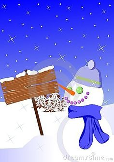 Illustration representing a signal covered by snow and a snowman. This illustration can be used as christmas greeting card, but also for other ideas about winter.