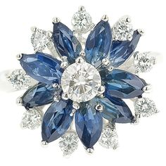September is beautiful and bold in blue!  Avilan™ has its own fantastic floral design featuring marquise cut sapphires weighing 2.00 carats. Adorned with ten beautiful Storied™ round-brilliant cut diamonds I-SI1 weighing 0.78 carat. Set in 14K recycled white gold.