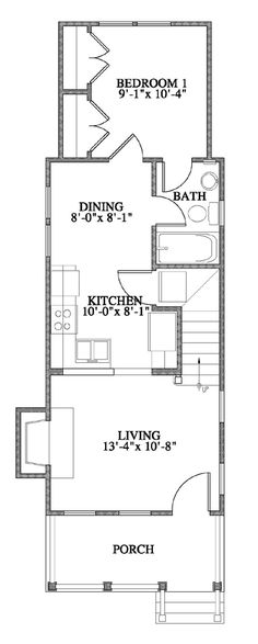 Allison Ramsey Architects | Floorplan for The Woodbine - 735 sqaure foot house plan # C0051