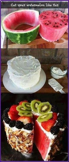 Funny pictures about Delicious Watermelon Cake. Oh, and cool pics about Delicious Watermelon Cake. Also, Delicious Watermelon Cake photos. Healthy Cake, Healthy Desserts, Just Desserts, Delicious Desserts, Dessert Recipes, Yummy Food, Healthy Treats, Healthy Food, Healthy Recipes