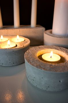 DIY -  concrete candle holders