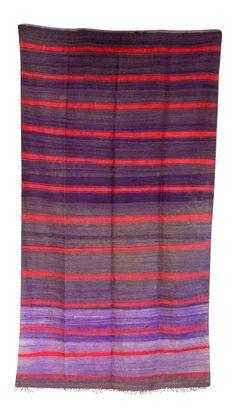 Vintage Moroccan striped Blanket handwoven wool purple red rug from the…