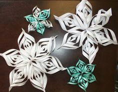 Make these great 3-D snowflakes with your kids!  Find a video with step by step instructions at Forever in Fifth Grade.