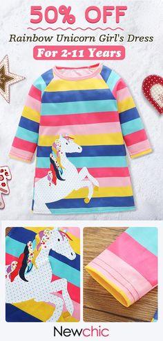 US  13.99  Horse Print Girls Long Sleeve Striped Dress For 2Y-11Y 8199f5b4b
