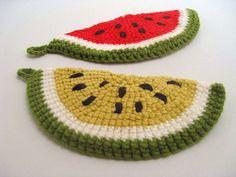 Hand Crochet Watermelon Slice Pot Holder from AWorkofHeartVintage, $12.95