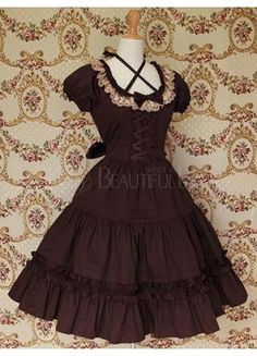 $69.49  Classic Cotton Scoop Empire Knee-length Lolita Dress With Ruffles  #Lolita Dress