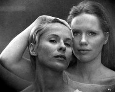 "Liv Ullman and Bibi Andersson in Ingmar Bergman's ""Persona"", 1966.  I always loved this still where their personalities merge as they look in the mirror."