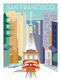 Unique Pop Art Posters San Francisco Golden Gate Bridge Cable Car Ferry Building #PopArt