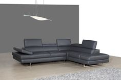 A761 Italian Leather Sectional Slate Grey::Sectionals::Modern Furniture | Contemporary Furniture | Modern Bedroom | NY New York Manhatta...