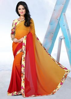 Red & Gold georgette printed saree