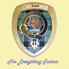 Clan Leslie Tartan Woodcarver Wooden Wall Plaque Leslie Crest 7 x 8