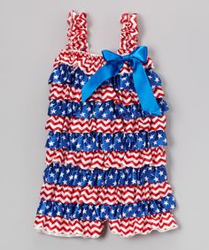 Blue Star & Red Zigzag Ruffle Romper - Infant & Toddler by Tutus by Tutu AND Lulu #zulily #zulilyfinds