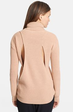 Haute Hippie  Back Cutout Waffle Knit Turtleneck Sweater
