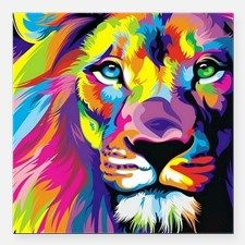 "Leo the trippy lion Square Car Magnet 3"" x 3"" for"