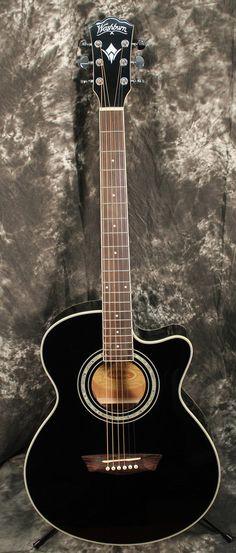 2014 Washburn Festival EA12 Acoustic Cutaway Electric Mini Jumbo Guitar Black