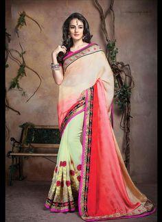 Sophisticated Satin Patch Border Work Designer Saree