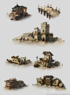 Destroyed City by ChangYuan Jou, via Behance  Find more at https://www.facebook.com/CharacterDesignReferences