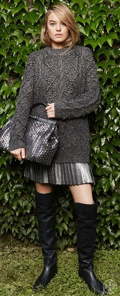 Accent all-over gray with pops of gunmetal metallic | Tory Burch Fall 2014