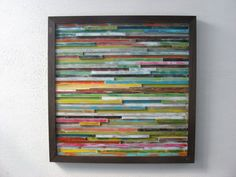 Reclaimed Wood Art - Wall Sculpture - Abstract Painting on Wood  ***MADE TO ORDER*** Will be recreated to look similar as shown in photos.  Reclaimed Abstract Modern Rustic Wood Wall Art  Size: Approx. 36x36 including handmade frame.  Make this unique piece of art be the center of attention on your wall space! Made from reclaimed wood strips painted a variety of colors in layers on each piece and heavily distressed for a one of a kind modern rustic look.  Custom orders are available if you…