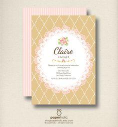 Doily Rose Tea Party - CUSTOM Party Invitation - PDF Printable by Paperholic