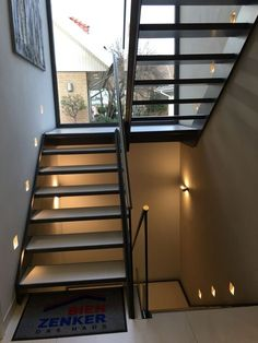 stairs windows house - All For Decoration Metal Stairs, Loft Stairs, House Stairs, Modern Staircase, Staircase Design, Interior Stairs, Home Interior Design, Metal Building Homes, Model Homes