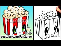 fun2draw animals | Movie Popcorn - How To Draw Toons (Easy Cartoon Art Lesson ...