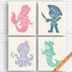 Unisex Kids Funny Bathroom (A) - Set of 4 Art Print (Unframed) (Rose, Blue Jeans, Periwinkle, Sea foam on Soft Cream) Boys / Girls Bath Art