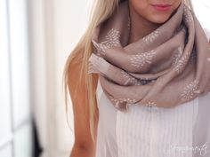 taupe scarf with pintuck shirt and pink lips