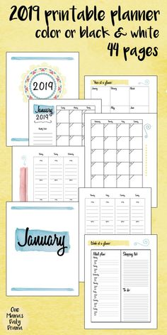 """The Keri Houchin Design 2019 Printable Planner is now available for download. This 8.5""""x11"""" planner is available in color or black and white to print at home or your favorite copy shop. #planner #printables #2019planner #homebinder #printableplanner"""