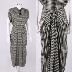 VTG 1940s JACQUES FATH BLACK & WHITE GINGHAM FAN BACK PEPLUM AFTERNOON DRESS #JacquesFath