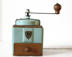 Vintage French Peugeot Amond green metal coffee grinder | RueDesLouves on etsy