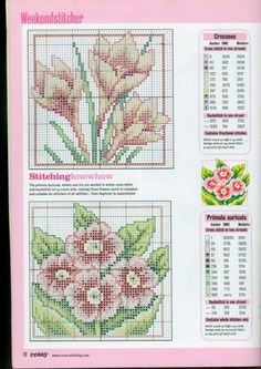 Cross stitch - flowers: Early spring flowers - crocus, primula - small motifs (chart)